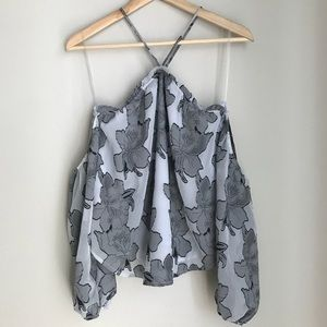 Leith Gray Floral Halter Off Shoulder Blouse Small